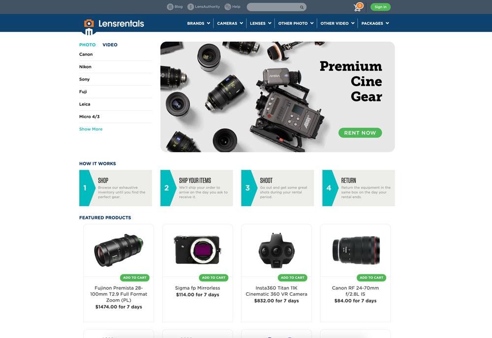 Online Lens Camera Rentals