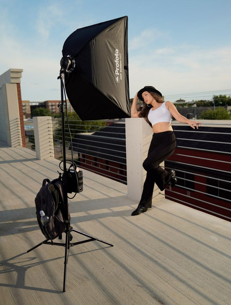 Behind the scenes profoto b2 off camera flash portrait shoot testing gear