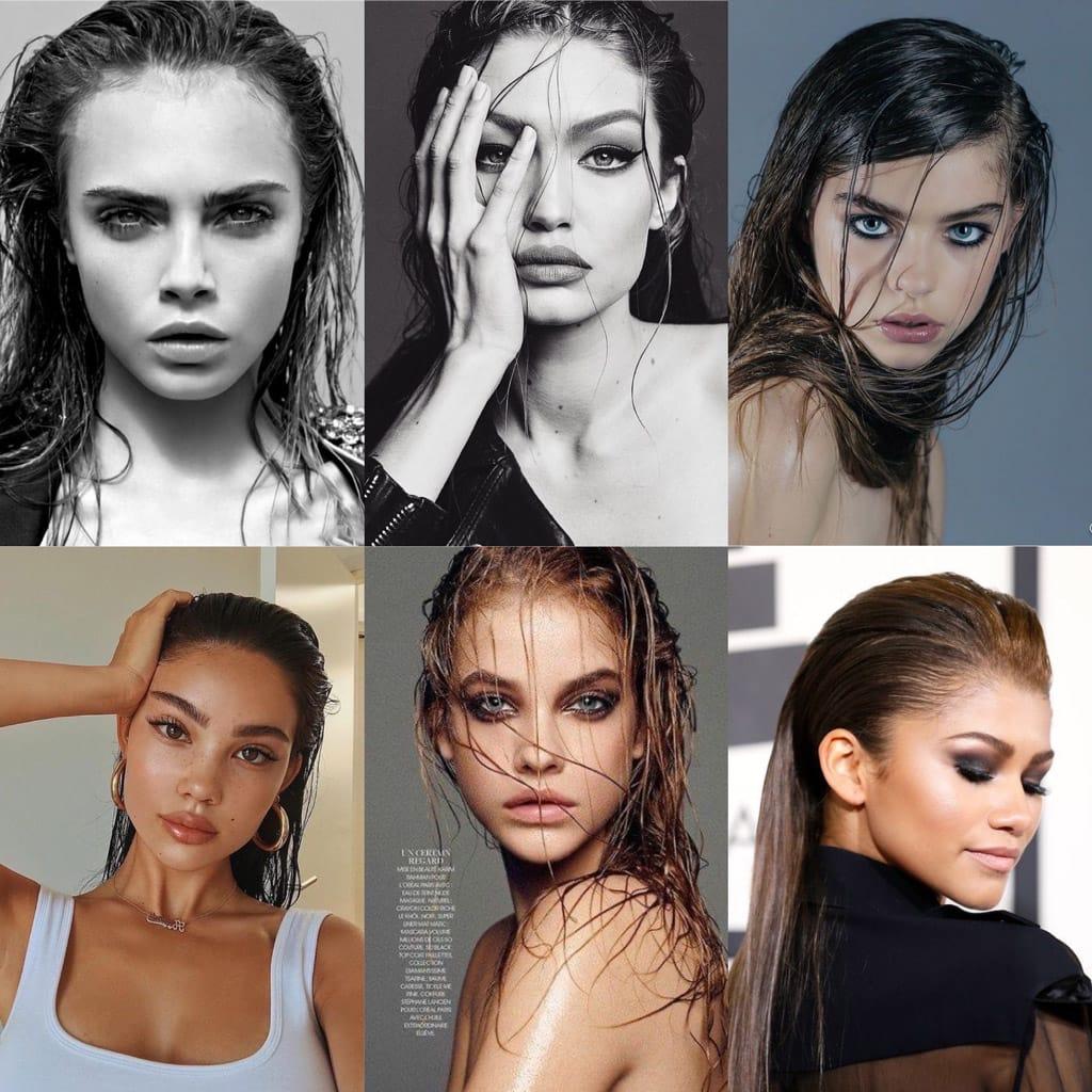 wet hair portraits moodboard
