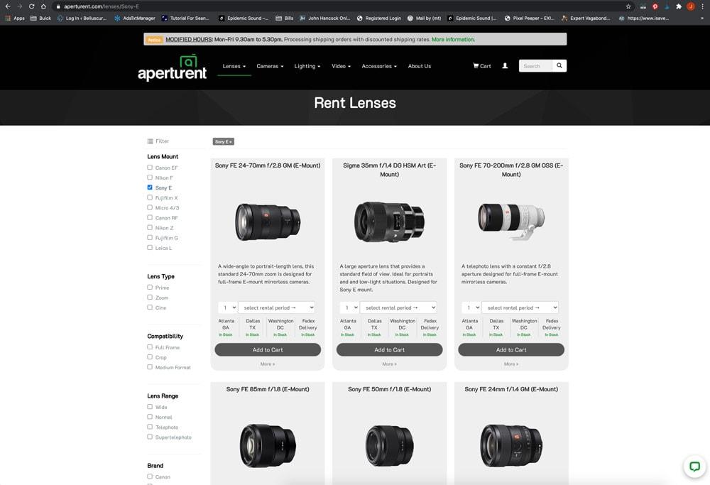 Aperturent.com Online Camera Lens Rental Company