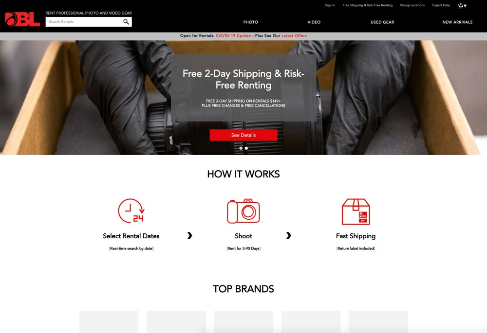 Borrowlenses online rental company