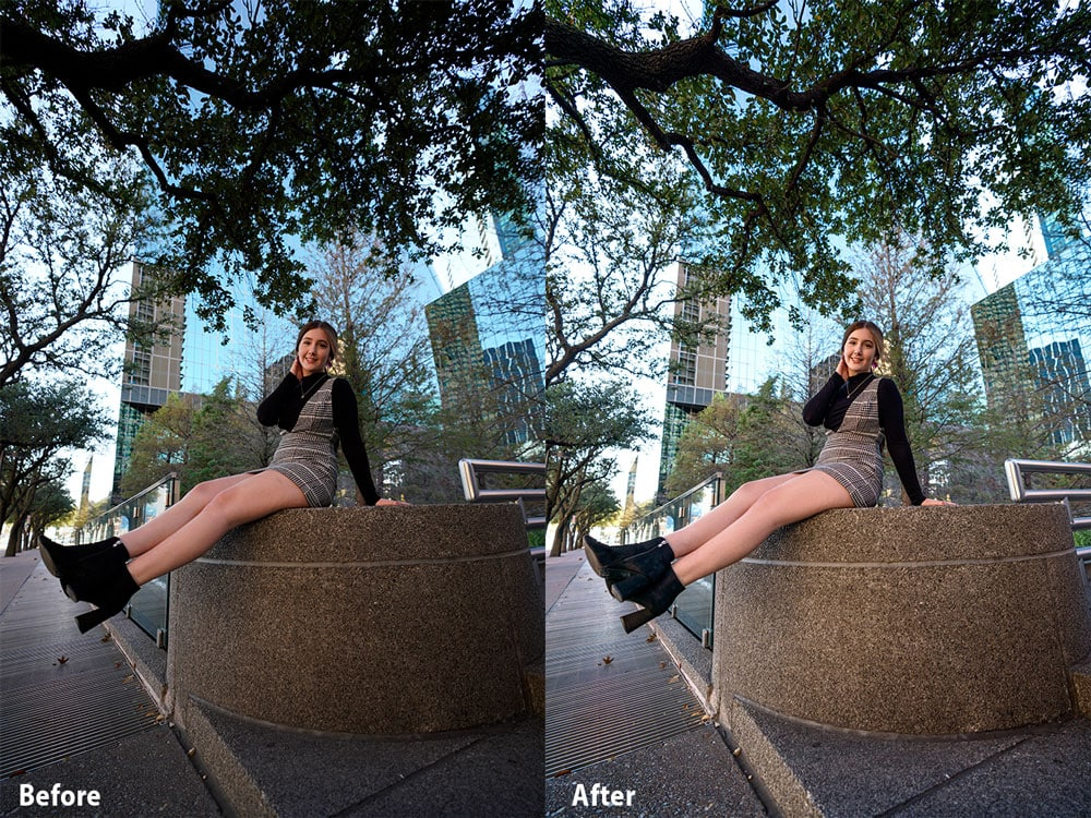 Before After Image Sony 16-35mm Portrait with Olivia