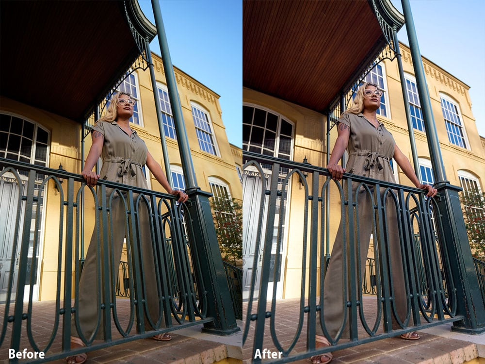 Before After Image Sony 16-35mm Portrait with Dominique