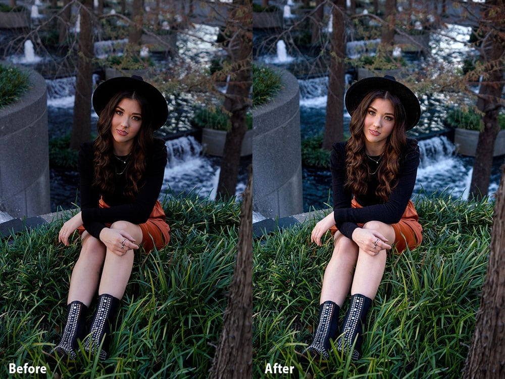 Before After Image Sony 16-35mm Portrait with Maddison by the waterfall