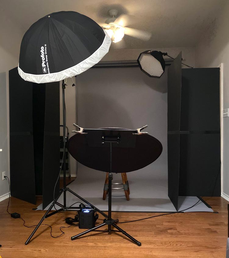 Small home studio for portrait photography